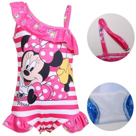 Cartoon Princess Siamese Triangle New Children's Swimsuit Women's Conservative Hot Spring Net Red Half Shoulder Strap Swimsuit 0357
