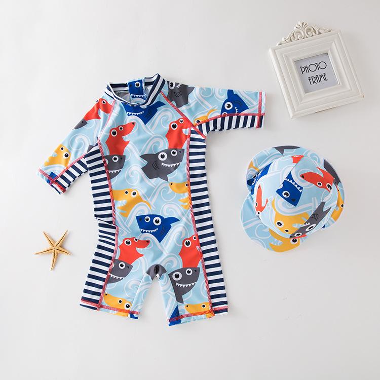男款连体泳衣 蓝色鲨鱼头印花款 儿童泳衣温泉衣