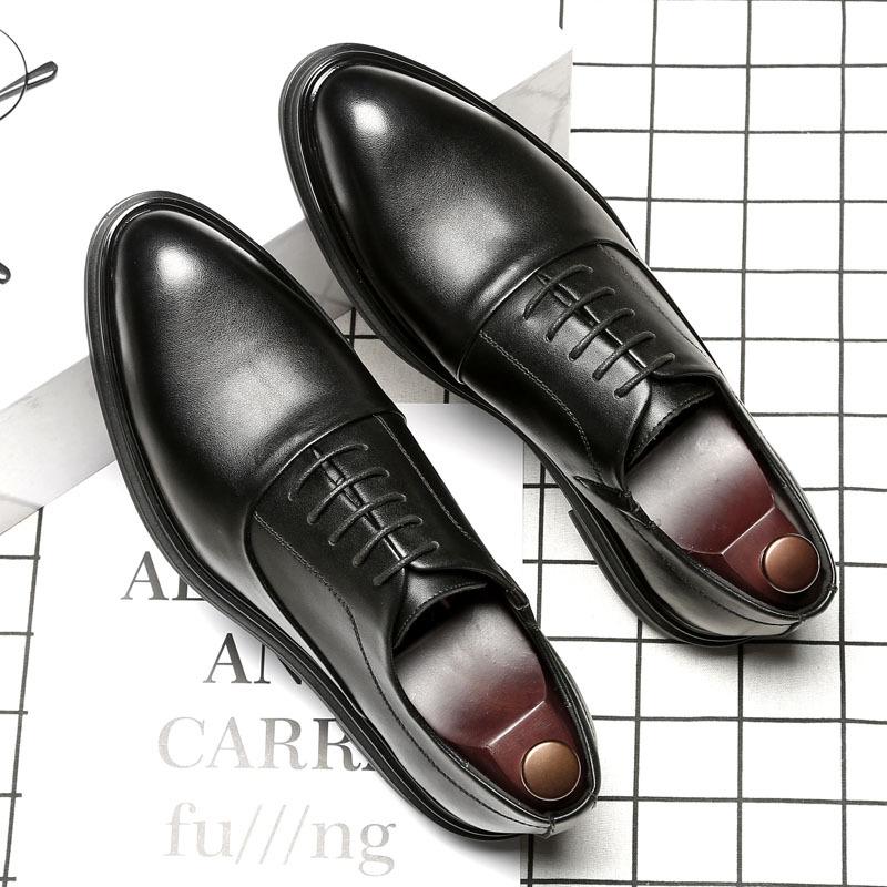 英伦尖头商务男鞋时尚休闲皮鞋黑色大码跨境正装鞋一件代发3018-A