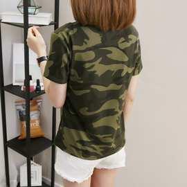 军绿色迷彩t恤短袖2018夏装新款韩版女学生宽松短袖迷彩服上衣