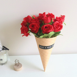 New ins Nordic wind simulation paper tube bonsai set fake flower decoration Valentine's day sweet tube rose bouquet