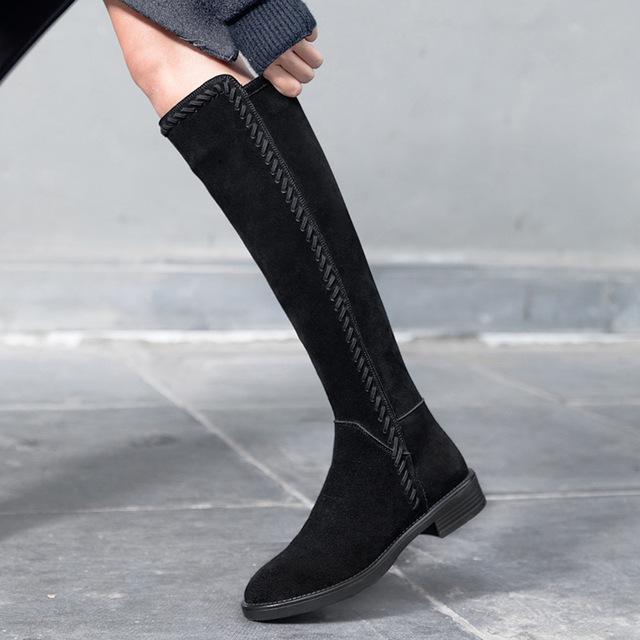 秋冬季2018新款馬靴女英倫風不過膝長靴黑色平底及膝高筒騎士靴