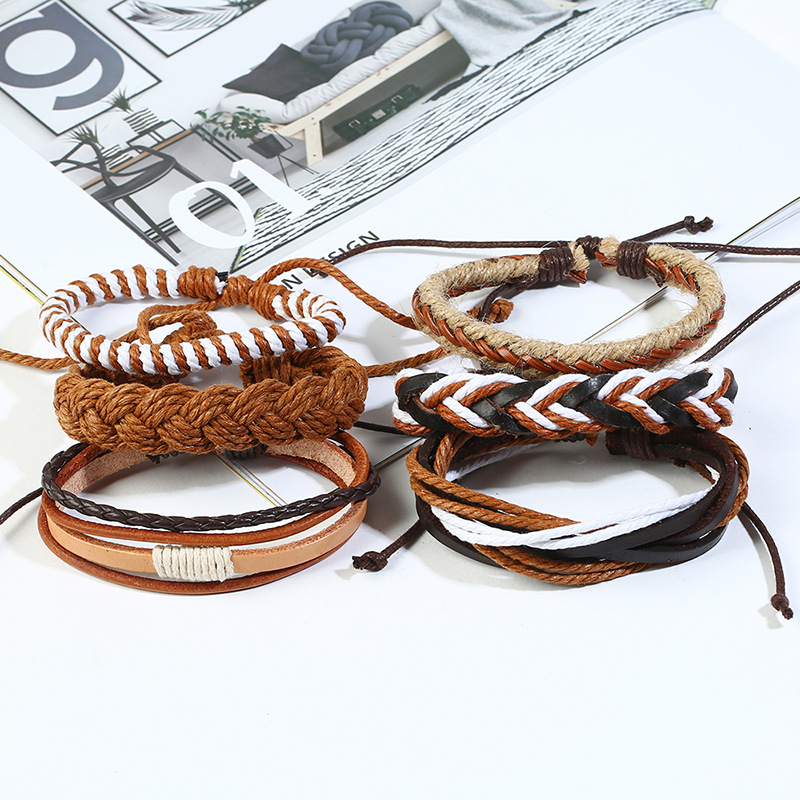 Leather Fashion Geometric bracelet  Sixpiece set NHPK2186Sixpieceset
