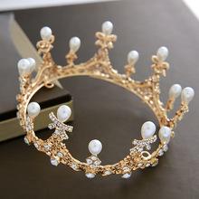 新款新娘头饰高端圆形皇冠婚纱结婚饰品演出舞会配饰大气圆形王冠