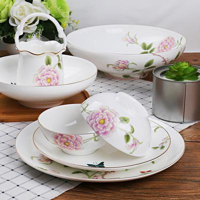 高档精品中式48头唐山骨瓷餐具套装陶瓷家用碗盘碟礼品定制logo