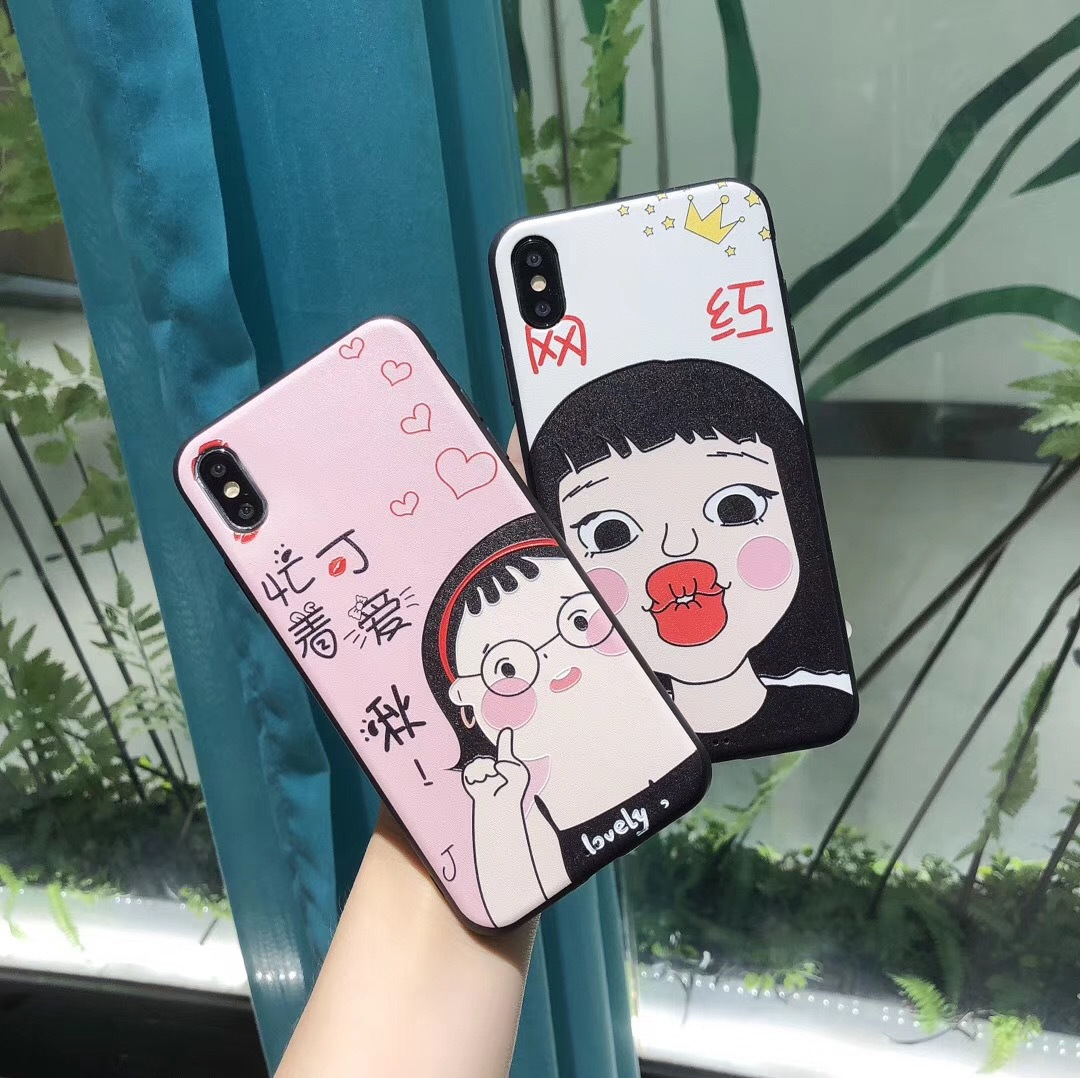 Japanese and Korean cute spoof girl Crayon Shinchan for iPhonex mobile phone shell Apple 7/8plus/max all-inclusive