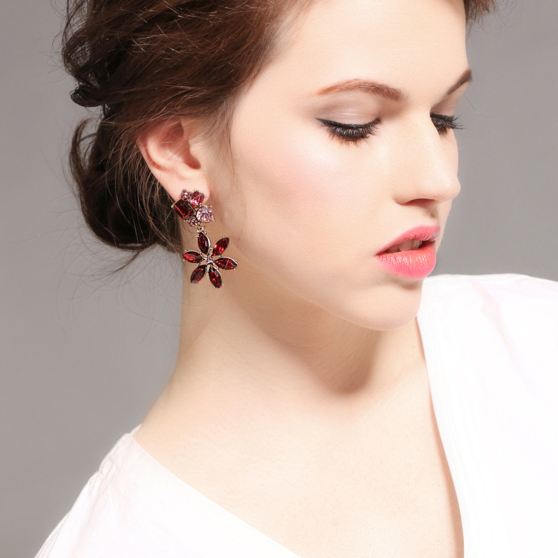 Alloy Fashion Flowers earring  (Blue-1) NHQD5328-Blue-1