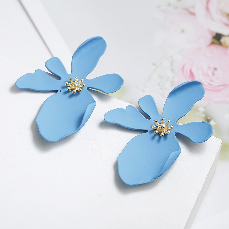 fashion long flower petal large earrings NHPF323508