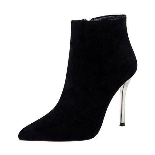 8663-1 the European and American wind winter fashion contracted with ultra fine with suede pointed sexy nightclub show thin female short boots