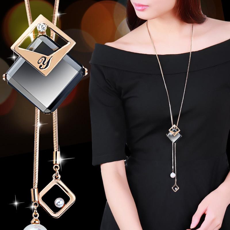 النسخة الكورية من الماس طبقة مزدوجة هندسية بسيطة شرابة سترة سلسلة طويلة قلادة الإناث مزاجه البرية قلادة بالجملة