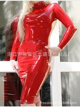 乳胶衣女乳胶紧身裙全包伪娘cd变装性感无拉链可做拉链乳胶连衣裙