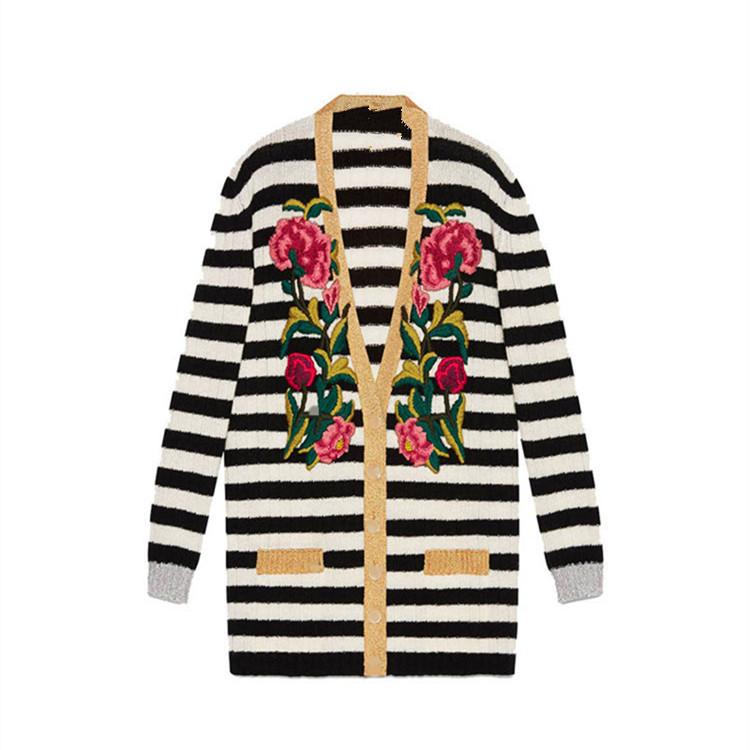 欧洲站2019女装新款G家刺绣条纹V领中长款针织开衫上衣外套批发