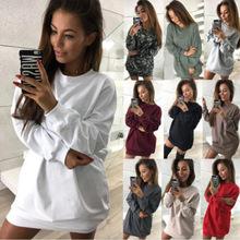 亞馬遜速賣通WISH歐美冬季新款休閑圓領純色中長款衛衣連衣裙女裝