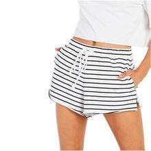 速卖通亚马逊独立站欧美跨境女装热卖高腰条纹休闲短裤运动裤批发