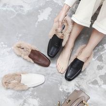 2018毛毛拖鞋女外穿秋冬季新款兔毛保暖单鞋平底一脚蹬圆头半拖鞋