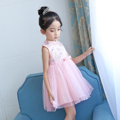 2018 mới cô gái ăn mặc mùa hè ăn mặc cotton sườn xám công chúa váy 61 váy hiệu suất váy váy factory outlet