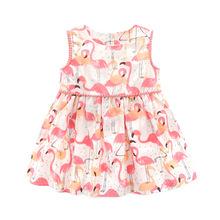 外貿亞馬遜 ins女童裙 火烈鳥印花兒童仙女裙可愛韓版連衣裙熱批