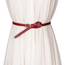 甜美百搭二层牛皮打结女士细腰带 窄款蝴蝶结装饰腰链女 红色裤带