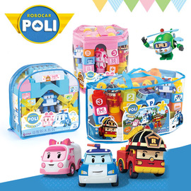 Authentic Korean deformation police car Poli POLI Ambalui puzzle large particles building blocks young children early education toys
