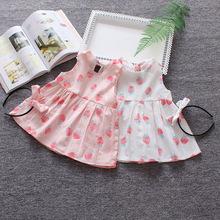 爆款 风格春夏新款童装 草莓无袖女童连衣裙 纯棉 宝宝裙子公主范