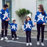 18 осень-зима новая коллекция голубой двухслойный Жаккардовые звезды длинный рукав круглый воротник Вложенные родительские родители