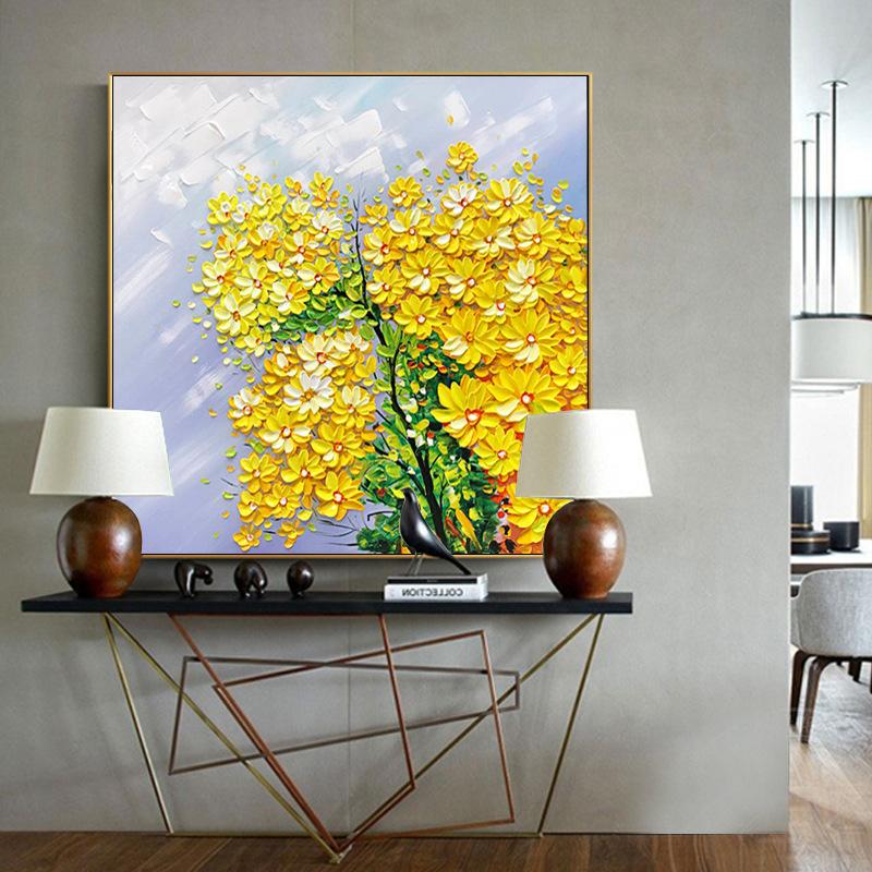 客厅现代手绘立体花卉装饰画玄关挂画卧室餐厅简约背景墙壁画