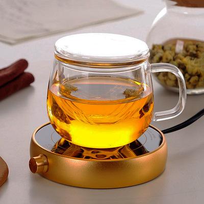 玻璃茶杯加厚带盖透明泡茶圆趣杯耐热高硼硅玻璃杯花茶杯办公杯