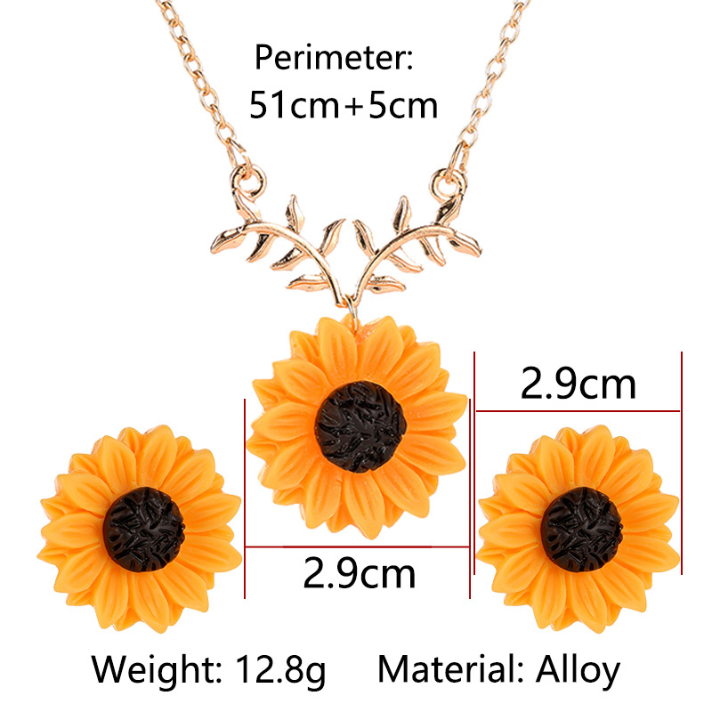 Pearl Sun Flower Necklace Earring Set NHDP151441