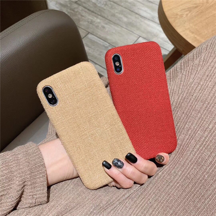 High-grade solid color for XR Xs max 8p soft shell Apple 6 simple linen soft shell ip7plus fashion