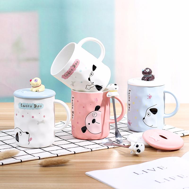 新款立体浮雕小狗公仔创意杯子 新款马克杯带盖勺咖啡牛奶陶瓷杯