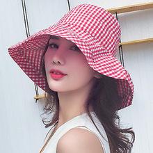 2018韩版新款女士潮款格子渔夫格子盆帽户外防晒帽子遮阳帽子批发