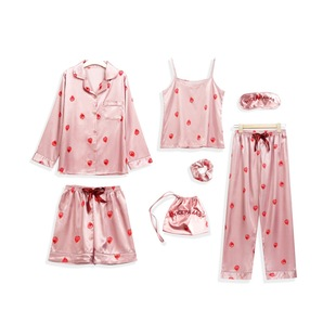 Pajamas women spring and autumn strawberry long-sleeved ice silk seven-piece summer thin shorts suit Korean silk home service 7