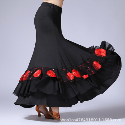 Ballroom dance skirts for women Modern national standard competition practice skirt square dance skirt Sequin embroidery performance Dress Dance