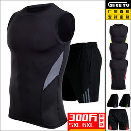 Large size sports suit men's stretch breathable quick-drying vest gym weight loss training running fat fitness clothes
