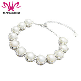 New fashion simple natural freshwater pearl bracelet female 925 sterling silver flowers Europe and the United States accessories Mother's Day jewelry