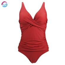 大码跨境三角连体游泳衣女士双肩欧美性感一体式褶皱泳装露背红色