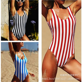 New explosion swimsuits Europe and America sexy red and white vertical strip print one-piece bikini
