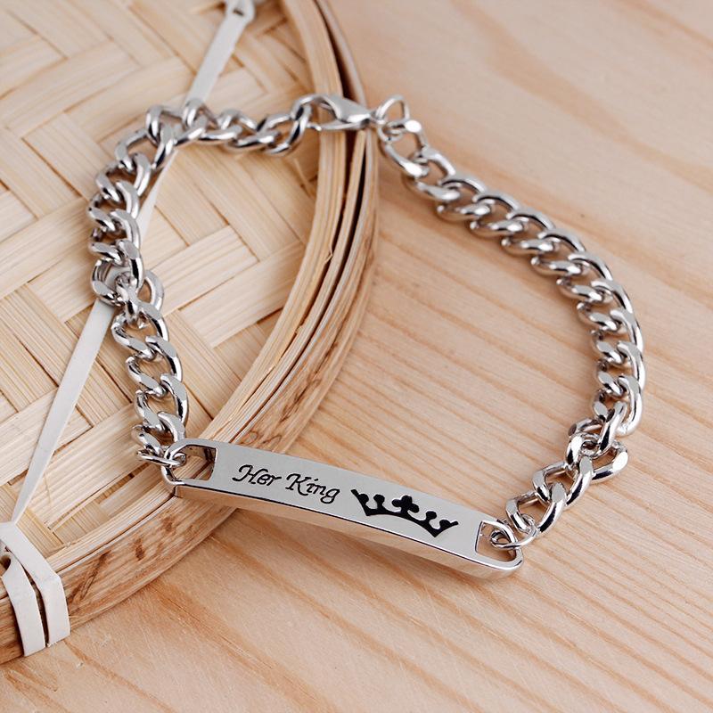 explosion models couple bracelet square engraved letter pendant bracelet herking her queen accessories explosion wholesale nihaojewelry NHMO220268