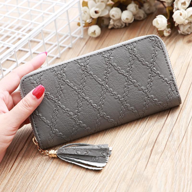 Nihaojewelry wholesale accessories Korean solid color rhombus embossed wallet  NHLAN388722