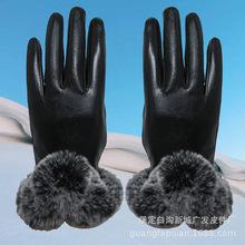 秋冬保暖女士骑行手套羊皮纹V型毛口触屏手套摩托车防寒手套