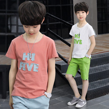 男童套裝夏季新款中大童休閑純棉短袖T恤童韓版兒童套裝一件待發