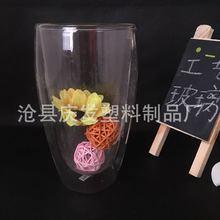 廠家直銷 蛋形高硼硅玻璃 耐熱竹蓋雙層玻璃杯子保溫花茶杯咖啡杯