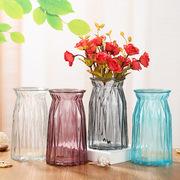 欧式条纹彩色玻璃花瓶彩色玻璃水培玻璃花瓶 鲜花干花插花器