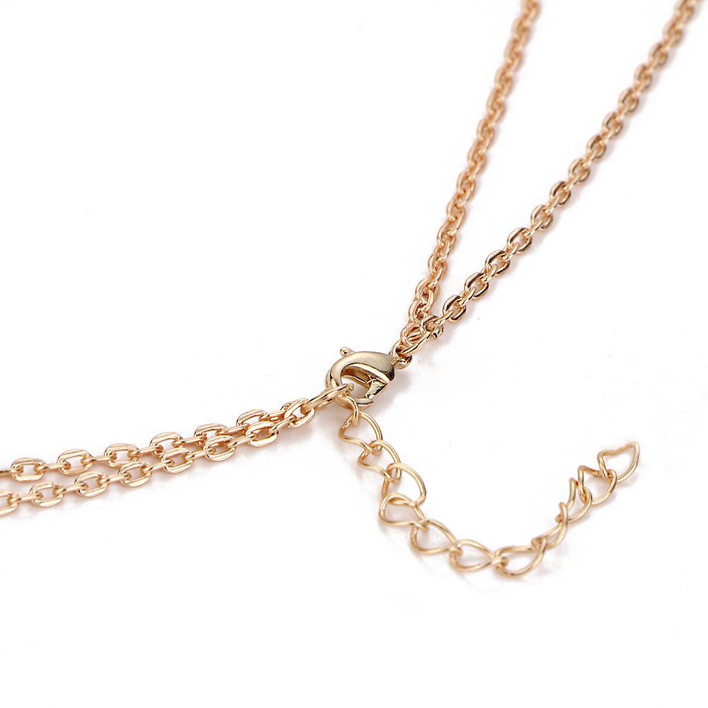 Fashion double moon moon crescent bullet spirit pendulum necklace NHPJ147999