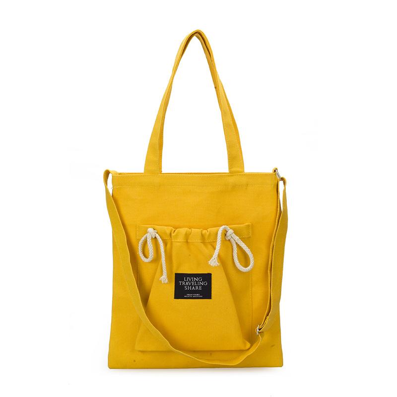 新款简约日韩国潮帆布包女单肩小清新 文艺帆布斜跨包素包包布袋