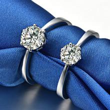 经典六爪50分钻简约纯银仿真钻戒指女戒婚戒定制18K白金莫桑石