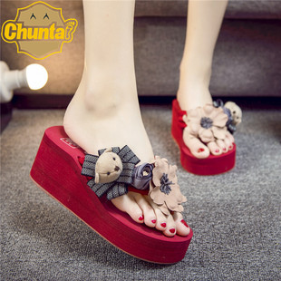 Handmade DIY cartoon cute flip flops thick-soled non-slip sandals and slippers female angle beach shoes wholesale