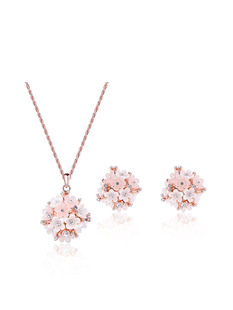 European and American cross-border hot-selling pink alloy necklace and earrings two-piece women's fashion all-match jewelry set