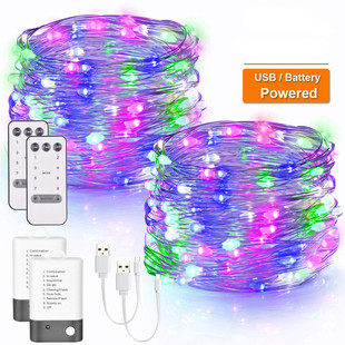 New 8-function black and white battery box + USB dual power supply copper wire light string remote control light string Christmas light string