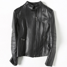 Haining leather women's autumn new sheepskin short single-leather jacket T